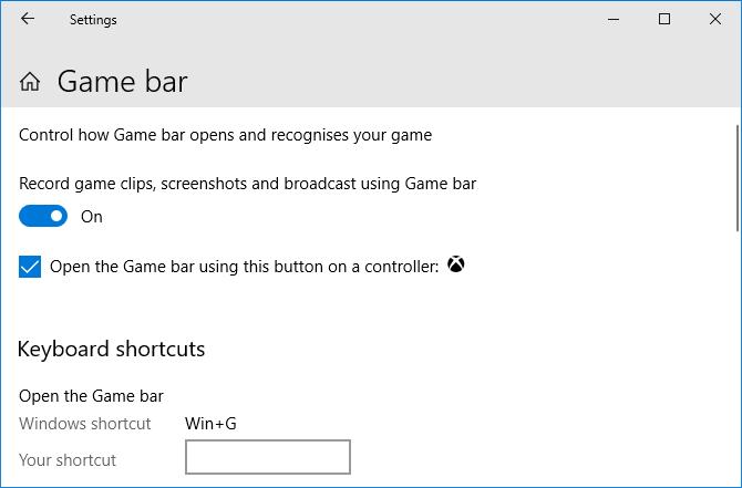 Game Bar settings Windows 10