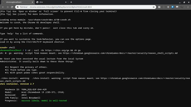 установить Linux Chromebook Chrx двойной загрузки