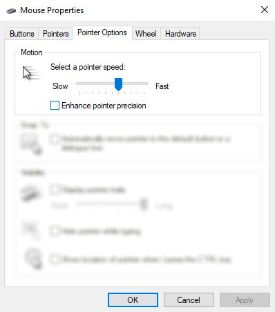 Disable mouse enhancements to optimize Windows 10 games