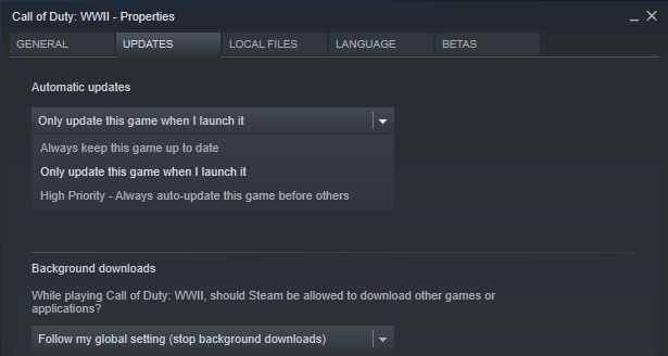 Disable automatic updates in Steam for optimized Windows 10 games