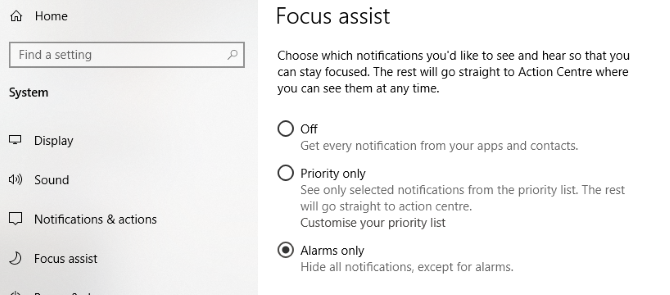 Disable notifications to improve Windows 10 games