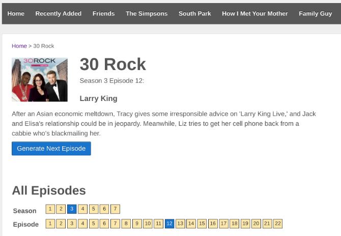 O Episode Generator escolhe um episódio aleatório de um programa de TV para assistir, oferecendo uma rápida sinopse também