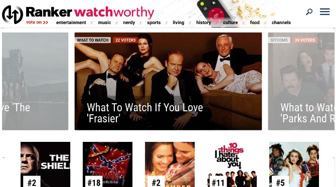 """O Watchworthy da Ranker tem uma série de artigos """"O que assistir se você ama"""" para uma variedade de programas de TV"""
