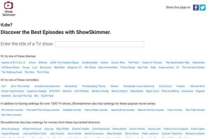 Show Skimmer lista os cinco ou dez melhores episódios de qualquer programa de TV