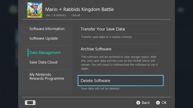Nintendo Switch удалить программное обеспечение