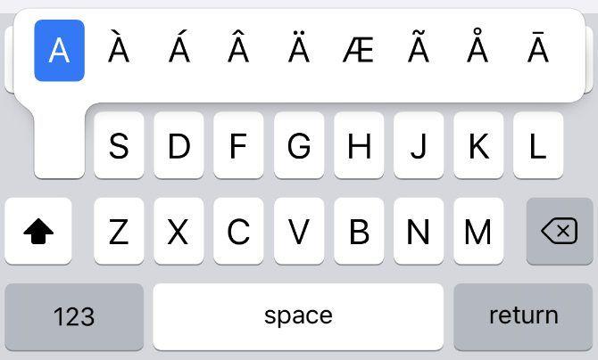 Альтернативные символы для буквы А на клавиатуре iPhone