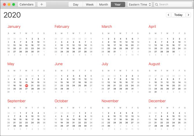 Calendar app Mac year view