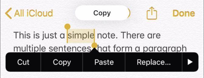 Копировать оповещение из приложения Notes