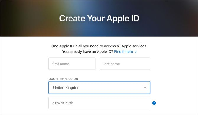 Create your Apple ID website with your selected country