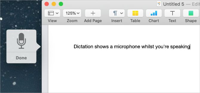 Dictation microphone icon on Mac