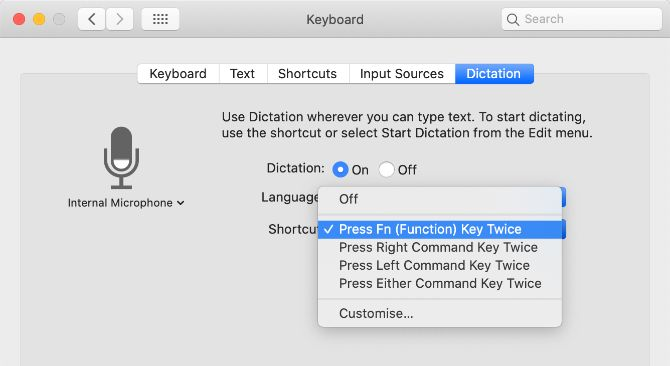 Drop-down menu for the dictation link in the system settings