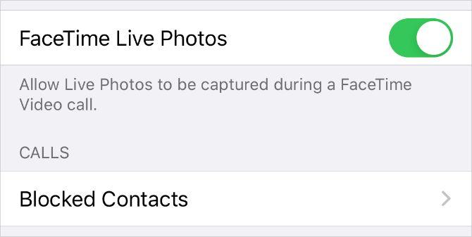 FaceTime Live Photos переключать в настройках iPhone