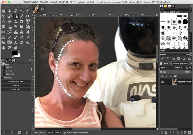 GIMP инструмент выбора контуров лица