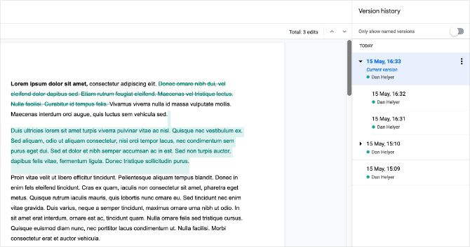 Google Docs version history with color changes