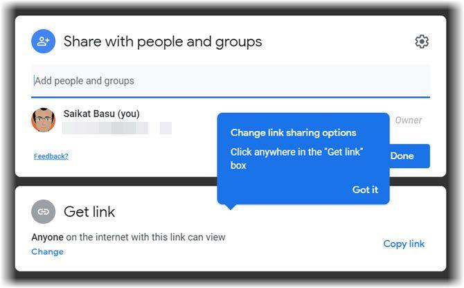 Настройки диалога Google Drive Share