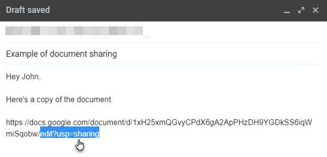 Скопированный URL-адрес Google Диска в электронной почте