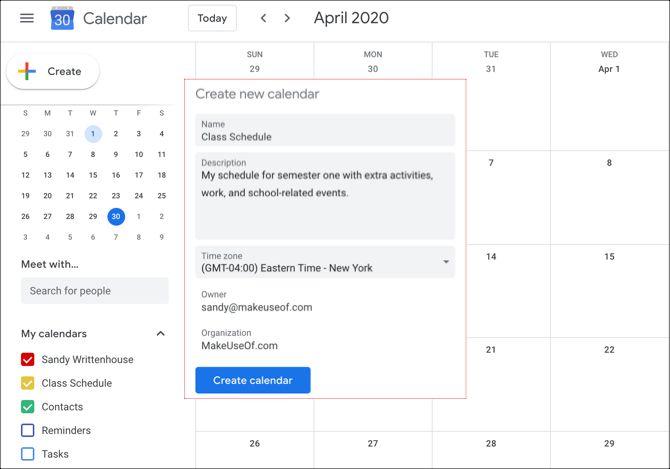 Календарь Google Создать календарь