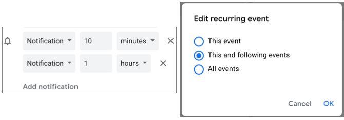 Уведомление о событиях Календаря Google