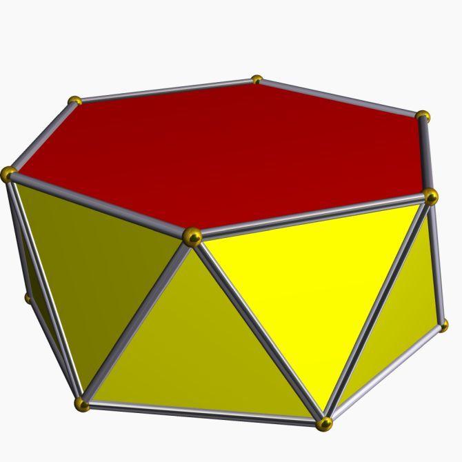 гексагональная антипризма имеет 12 граней вместо восьми