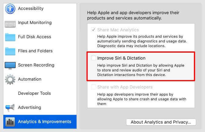 Improve the Siri & Dictation option in the settings of the data protection system