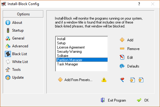 Install block Windows example