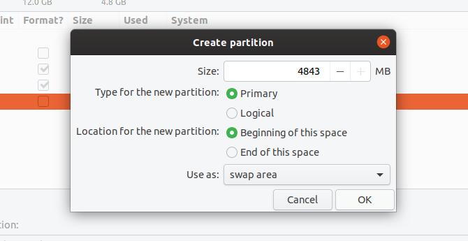 Create a swap partition in Ubuntu Linux