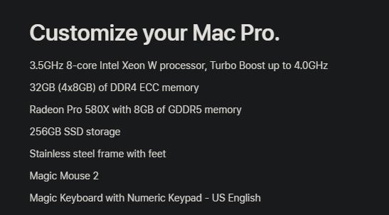 Базовая модель Mac Pro