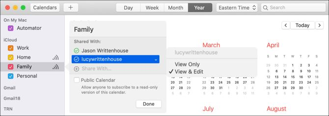 Add people and permissions to Mac sharing calendar
