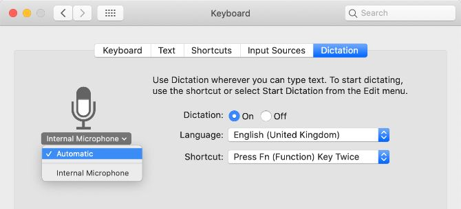 Microphone selection from the settings of the dictation system