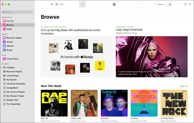 Music app Mac browse view