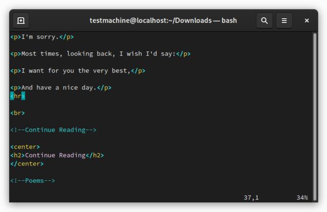 Терминальный текстовый редактор Vim Linux
