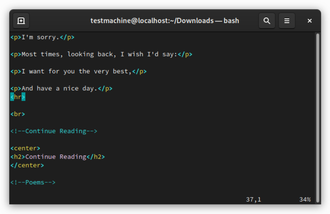 Vim Linux Terminal text editor