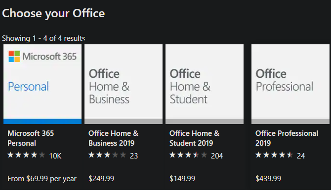Office 2019 Pricing