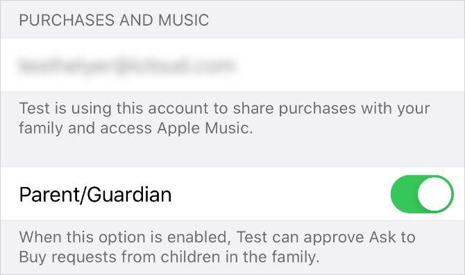 Parent: опекун переключается в настройках Family Sharing