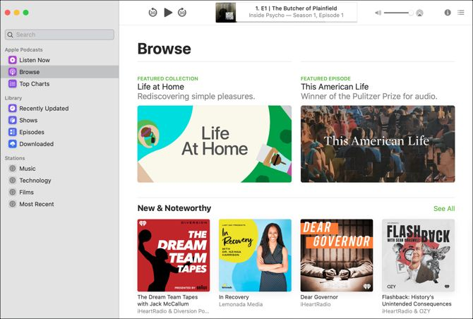 Podcasts app Mac Browse View
