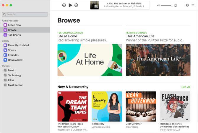 Подкасты App Mac-Обзор Просмотр