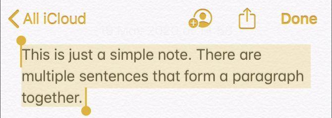 Выбранный текст в приложении Notes