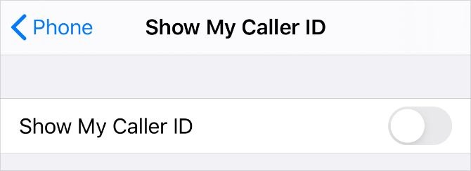 Show My Caller ID option from iPhone Settings