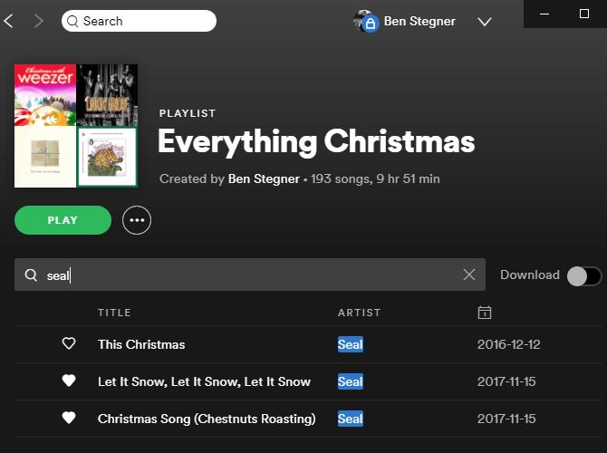 Поиск плейлиста Spotify