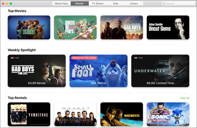 TV App Mac-Movies View