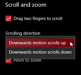 The scroll direction options in Windows 10