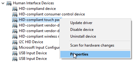 Access to the driver properties of a touchpad in Device Manager