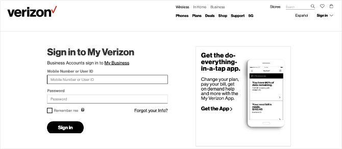 Verizon home page banner