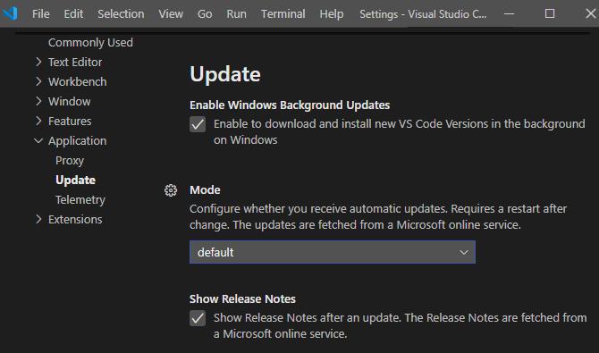 Visual Studio code updates