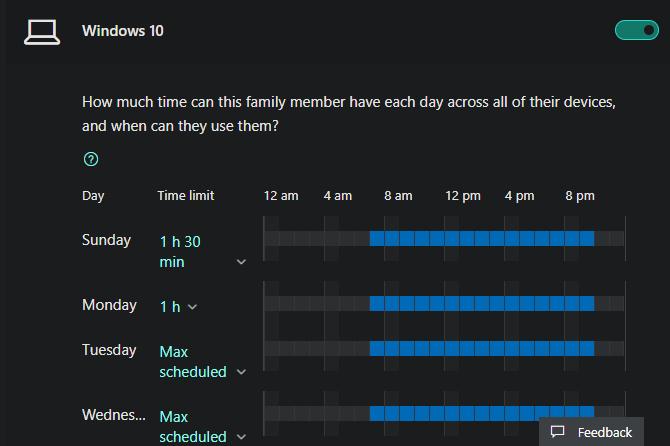 Windows 10 screen time family