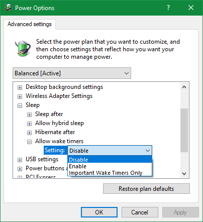 Windows Disable the wake timer power supply