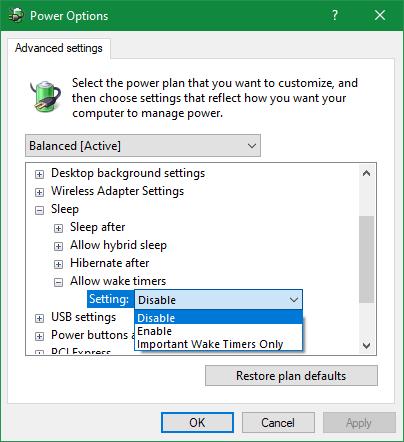 Windows отключает питание таймеров пробуждения