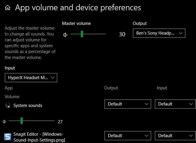Windows Individual sound settings
