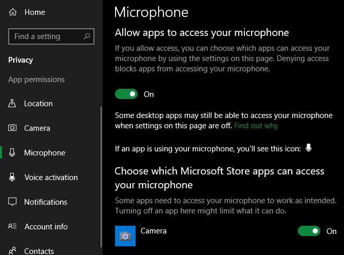 Windows Mic Access settings