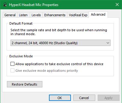 Windows Mic Control Panel Properties